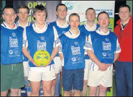 At Macra's NDC Indoor Soccer AllIreland final are the team from Aghinagh Macra. Back row (from left): Daniel Crawley, Alan Hourigan, and Seán Hogan. Front row (from left): Paudie O'Sullivan, John Dorley, Michael O'Sullivan and Noel Noonan with Macra...