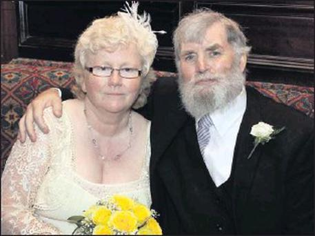 The late Donal and Patricia on their wedding day just last September. Photo: Patrick Casey