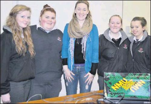 Dr Sarah Breen, past pupil of Nagle Rice Secondary School Doneraile, and Assistant Professor of Biomechanics at Northern Michigan University pictured with Leaving Cert students Bethany Watson, Jessie Roche, Shannen Hunter and Lorna Shanahan following a...