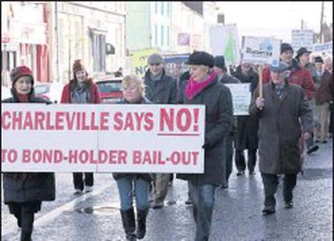 Protesters of the Bondholder Bailout marching through Charleville on last Sunday. Credit: Photo: Mike McGrath