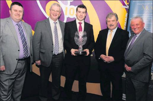 Cork GAA Supreme Sports Star of the Year Peter O'Brien from Kildorrery pictured in the company of Kieran McGeary, Chief Executive 96/c103FM, John Lehane, Bob Ryan, Chairman Cork Co. Board and Finbarr McCarthy, Awards co-ordinator at a function in the... Credit: Photo by John Tarrant