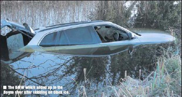 The BMW which ended up in the Boyne river after skidding on black ice.