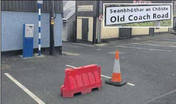 The dangerous junction at Trinity Street. Inset: The Old Coach Road sign.