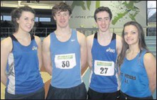 St Peter's AC quartet Emily Rogers, Mark Rogers, Conor Durnin and Niamh Fussey at the AAI Games in Athlone.