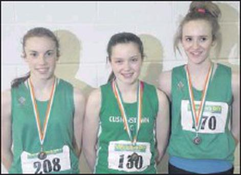 Cushinstown's medal-winning multi-eventers Elizabeth Morland, Zoe Mohan and Shannon Sheehy.