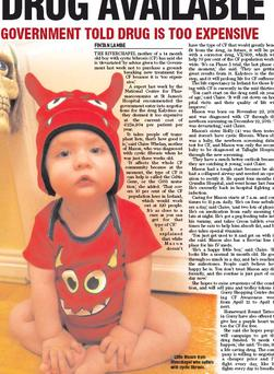 Little Mason from Riverchapel who suffers with cystic fibrosis.