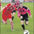 Ashling Frawley (right), who has been linking up well with her prolific strike partner, Rianna Jarrett.