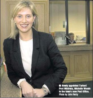 Newly appointed Tarbert Post Mistress, Michelle Woods in the town's new Post Office. Credit: Photo by John Reidy