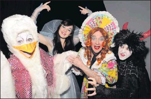 Killorglin panto stars Priscilla Goose (Hazel Devane), The Fairy (Aoife Flynn), Mother Goose (Declan Mangan) and The Demon (Irene Kavanagh) at rehearsals for the 50th Killorglin pantomime.