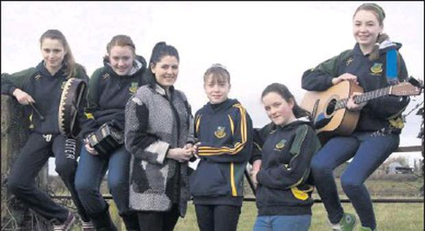 On stage: Members of the Moyvane GAA Club Scór team on a break from rehearsals on Saturday afternoon. Included are from left: Margaret and Lisa Mulvihill, Tara Mulvihill, teacher and manager; Lisa Stackpoole, Amiee Lindsell and Laura Stack. Credit: Photo by John Reidy