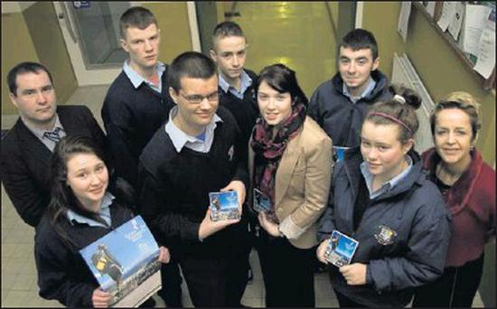 Great Gaisce: teachers and pupils pictured at Listowel Community College after the announcement of the award. Included are, front: Sorcha Enright, Jack Kingston, Aisling Culhane, Megan Fealey and Carmel Kelly, principal. Back row: Stephen Goulding,... Credit: Photo by John Reidy