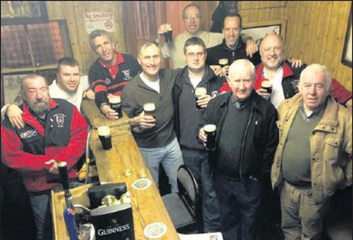 Publican, Paul Reese (left) pictured in Sheila Prendiville's on Saturday night with locals and members of The Morris Rugby Corporation from New Jersey. Included are: Séamus Brosnan, Tom Feury, Don Slade, Craig Chapman, Kieran Coffey, Mike Ryan, Denis...