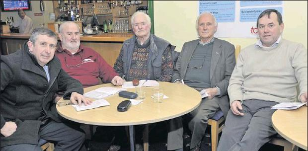The Round Table of Greyhound Racing Pals, from left, John Kelliher, P. Mulvihill, Terry Dearling, Paul Reidy and Johnny O'Keeffe, keeping an eye on the racing action at the Kingdom Greyhound Stadium Tralee on Friday night Photo by Denis Walsh Jnr