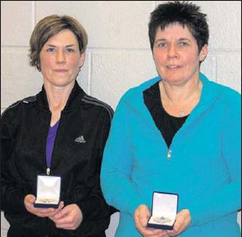 Eileen O'Connor (Killarney) and Mary Falvey (Kingdom), winners in the Ladies Doubles at the Munster Senior 2 Badminton Championships, which took place in Killarney Sports & Leisure Centre last Sunday.