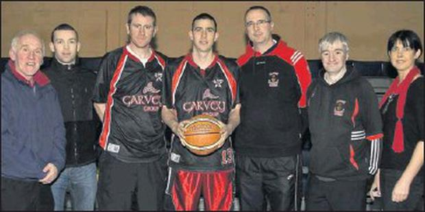 Ready for the weekend: Team captain, Dan Griffin (centre) lining up at Thursday night's press night with, Donal O'Connor, St. Mary's Basketball Club founder member; Neil Lyons, Garvey's SuperValu, team sponsors; Brian Clernon, coach; Maurice Casey,...