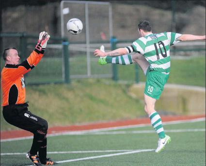 Kanturk's goalie Padraig Morrissey saves this effort by Killarney Celtic's Peter McCarthy in the Munster Junior Cup at Celtic Park, Killarney on Saturday Photo: Michelle Cooper Galvin