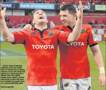 Currow's finest JJ Hanrahan celebrates victory over Racing Metro in Thomond Park on Sunday afternoon. The up and coming back came on as a second half sub as Munster scored the requsite number of tries against a fourteen man Racing to secure their place...