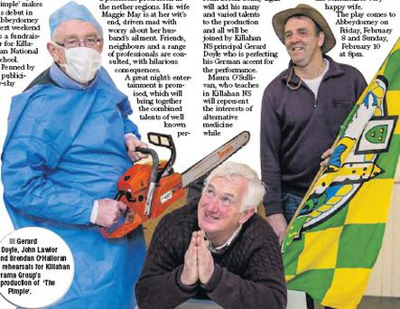 Gerard Doyle, John Lawlor and Brendan O'Halloran in rehearsals for Killahan Drama Group's production of 'The Pimple'.