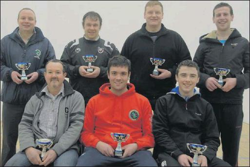 Martin Cooney team, winners of the Sligo Handball Team League. Included are: Back row, left to right: Michael Bruen, Gerry Coleman, Mark Murphy, Colin Conlon; Front row: Martin Cooney, Jamie Murray and Jason Earlis.