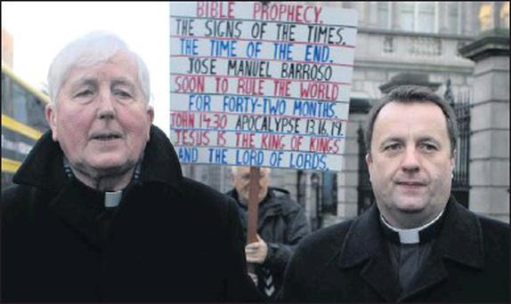Most Rev Dr. Christopher Jones, the Bishop of Elphin (left) and Fr.Timothy Bartlett, representing the Irish Catholic Conference, arriving for the Oireachtas Health and Children Committee meeting to discuss the abortion issue at Leinster House last week.