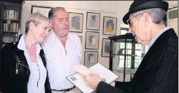 Lissadell House proprietors, Eddie Walsh and Constance Cassidy with legendary musician and poet, Leonard Cohen who officially opened the Yeats' Gallery at Lissadell House in 2010.