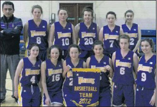 The Sligo Warriors' U.16 girls basketball team which recorded an impressive victory over Kilcar at Sligo Grammar School.