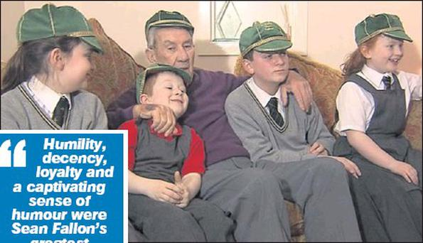 The late Sean Fallon and his grandchildren, Lelia, Dominic, Michael and Clodagh sporting their Irish international caps at Sean's home in Glasgow. The photograph was taken last week during RTE's filming of a special programme on Sean's life which will...