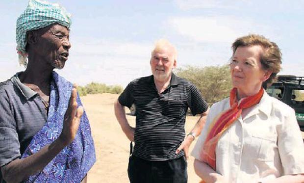 Former Concern CEO Tom Arnold with Mary Robinson on a trip to Somalia a number of years back. Credit: Concern Worldwide. Photographs: Jennifer O'Gorman,