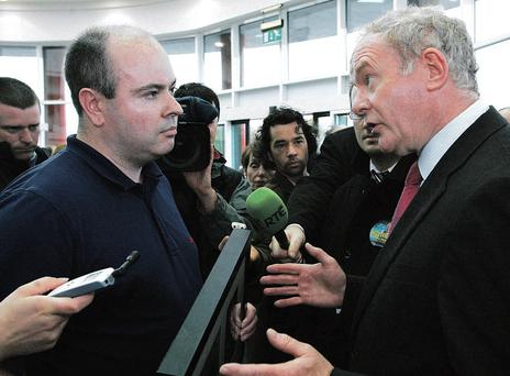 David Kelly confronts Martin McGuinness in Athlone some years ago about the murder of his father Pte Patrick Kelly in 1983