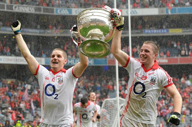 Cork's Daniel Goulding, left, and Colm O'Neill celebrate after the 2010 All-Ireland football final. Photo: Sportsfile