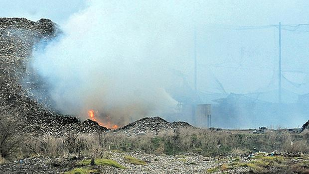 Smoke and flames from the dump at Kerdiffstown, Johnstown, Co Kildare. Firefighters say they cannot put the blaze out