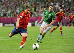 Fernando Torres shoots to score his Spain's first goal after four minutes. Photo: Sportsfile