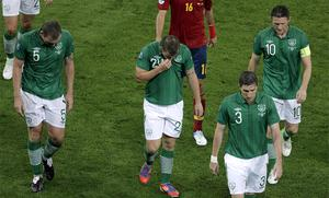 Richard Dunne, Simon Cox, Stephen Ward and Robbie Keane, from left, leave the pitch at half-time. Photo: AP