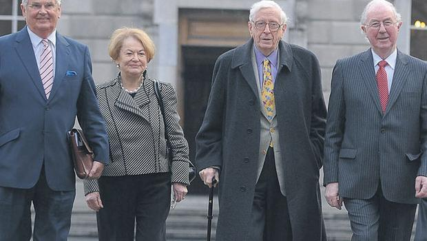 Ray McSharry of Fianna Fail, Gemma Hussey of Fine Gael, Dr Garret FitzGerald, former Taoiseach, and Dr Brendan Halligan of Labour at the Dail yesterday. Photo DAMIEN EAGERS