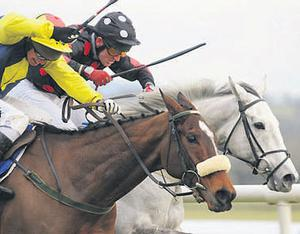 Ebadiyan, with John Cullen up,, just gets the better of Muirhead and Paul Carberry gto win the Limestone Lad Hurdle