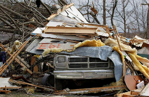 Tornado destruction is seen at the Pitman's residence, where two people died in the tornado, in East Bernstadt, Kentucky, March 4, 2012.