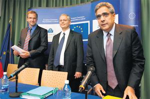 Representatives of the Troika, from right, Ajai Chopra from the IMF, Istvan Szekely of the EU, and Klaus Masuch from the ECB