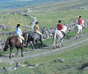 Others head out on a horse ride in Fanore, Co Clare