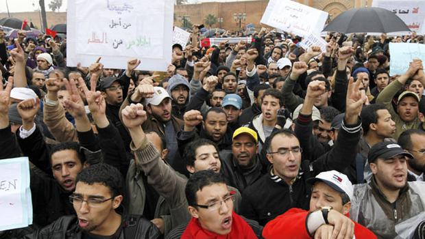 People gather for a protest in Rabat. Photo: Reuters