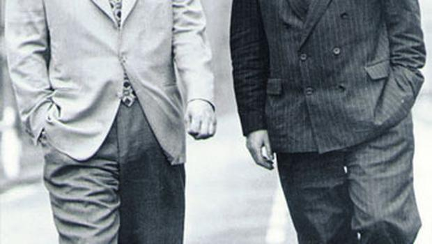 Aengus Fanning with the then UUP leader David Trimble at Stormont