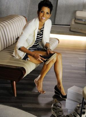 Halle Berry models a shoe from her new collection. Photo: Deichmann