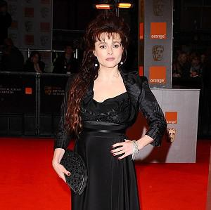 Helena Bonham Carter arrived at the Baftas in a restrained black Vivienne Westwood outfit