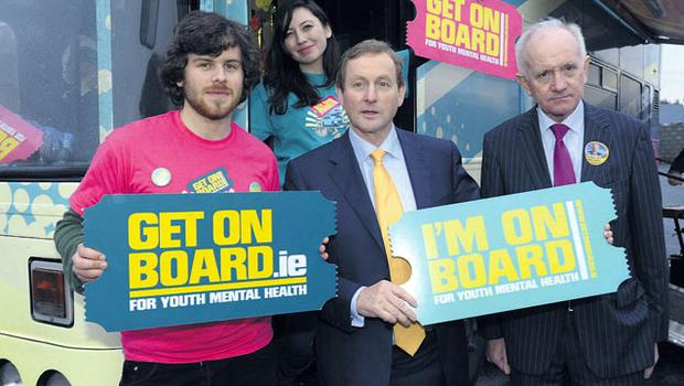 Wheels in motion: Enda Kenny with the Get on Board Team in Co Limerick