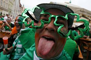 An Irish supporter reacts before the Euro 2012 soccer match between Ireland and Croatia in Poznan