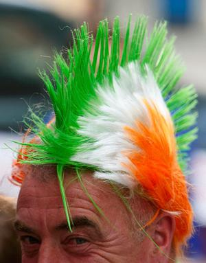 An Irish supporter looks on