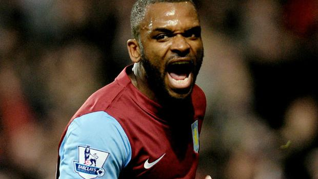 Darren Bent celebrates after scoring on his debut for Aston Villa against Manchester City at Villa Park yesterday. Photo: Getty Images