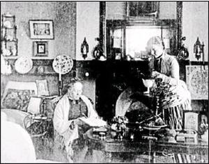 The drawing room at Glanleam House, Valentia showing Lady Fitzgerald and her daughter. c. 1880.
