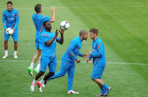 The Dutch team attend a training session during the Euro 2012 at Wisla stadium in Krakow. Photo: Reuters