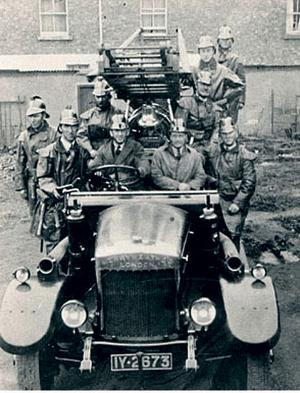 The Dundalk fire engine that went to Belfast in 1941, with Paddy O'Flaherty's grandfather third from back on the right