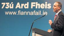 Fianna Fail leader Micheal Martin opens the Fianna Fail Ard Fheis at the RDS in Dublin, where he has promised to have a frank and open discussion on the party after a difficult week.